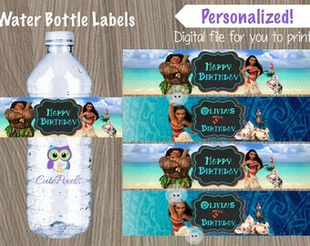 Moana Water Bottle Labels, Moana Birthdayparty, Moana Birthday Decor, Moana Labels, Moana Party, Hawaiian Party