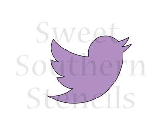 Social Media Bird Icon Cookie Stencil