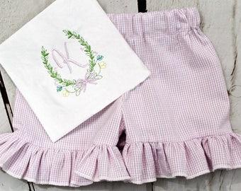 Girls Floral Monogram Shirt- Toddler Girls- Flower Monogram Shirt- Baby Girls- Spring Floral- Easter- Size 6m, 12m, 18m, 2t, 3t, 4t, 5t, 6