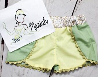 Princess Tiana Shirt- Girls Tiana Shirt- Toddler Girls- Princess & the Frog- Tiana outfit- Baby- 6m, 12m, 18m, 2t, 3t, 4, 5, 6, 8