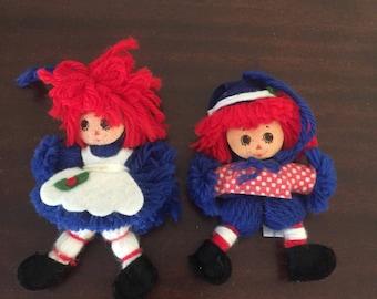 1975 pair of raggedy Ann & Andy yarn ornaments