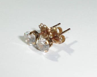 Fine, Vintage 10K Yellow Gold Post/Stud Earrings w/Faceted Round 4 mm Clear CZ