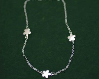 Flowers Anklet, Silver Flowers Anklet, Sterling Silver Flower Anklet, Flower Charm Anklet, Silver Anklet, Beach Jewelry, Elegant Anklet