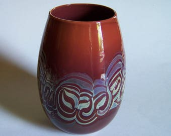 Hand Blown Art Glass Vase - Fredrick Warren - North Muskegon, MI Glass Artist - Signed and Dated - 1981 - Rouge-Red Vase