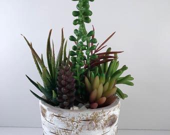 White Birch Concrete Artificial Succulent Planter / Artificial Succulent Arrangement / Succulent Planter