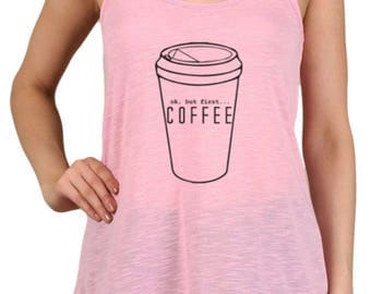 Women's But First Coffee Graphic Print Polyester Tank Tops for Regular and PLUS - Small ~ 3XL (mu-012-tp)