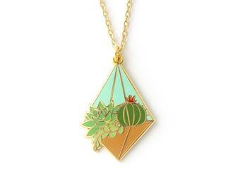 Day Terrarium Necklace (succulent terrarium cactus necklace enamel jewelry cute plant jewelry succulent necklace cloisonne gift for plant)