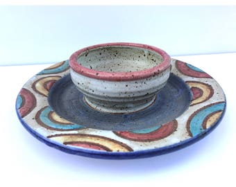 Chip and Dip Set -- Handmade Pottery -- Chip and Dip Tray -- Chip and Dip Plate -- Chip and Dip Platter -- Chip and Dip Bowl -- Pottery