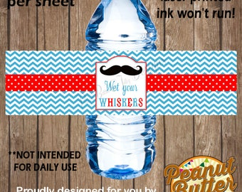 Personalised Birthday Wet Your Whiskers Party WATER BOTTLE peel & stick self adhesive sticker Labels - 5 Per Page