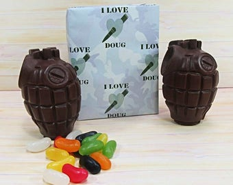 Valentines Chocolate, two milk chocolate grenades, solid and jelly beans