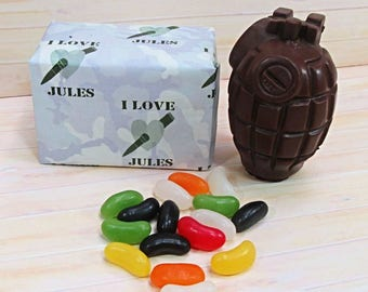 Valentines Chocolate, milk chocolate grenade with jelly beans