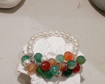 Pearl bracelet and hard stones