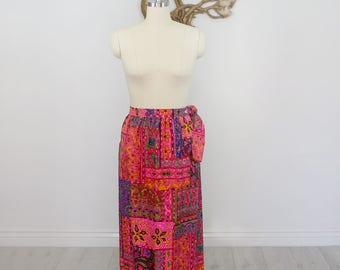 Vintage 1970's Montgomery Ward Multi-Color Wrap Maxi Skirt