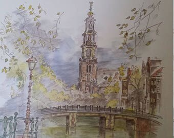 Vibrant Amsterdam Watercolor Print Shrink Wrapped 11 x 14