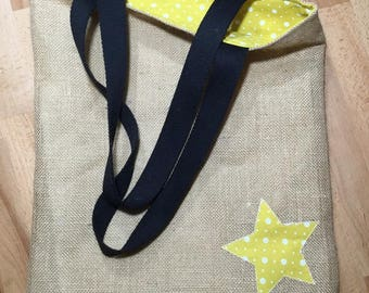 Tote Bag, bag in Burlap and mustard yellow cotton with white polka dots.