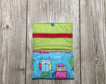 Bag origami, elastic, rings, filles.coton printed owls girls