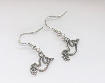 Peace dove hook earrings