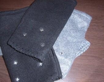 Fingerless gloves Black Fleece with star