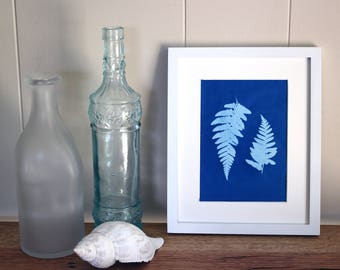 Blue Botanical Print, Botanical Wall Art, Fern Prints, Gallery Wall Art, Cyanotype, Instant Download, Contemporary Wall Art, Printable Art