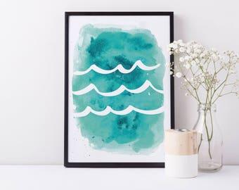 Aqua Print, Wave Artwork, Wall Decor, Aqua Waves Watercolor, Waves Nursery, Turquoise Art, Nursery Decor, Ocean Artwork, Ocean Waves Blue