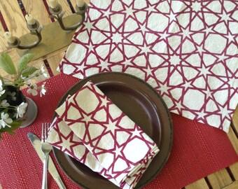 Islamic geometric patterned screen printed napkins