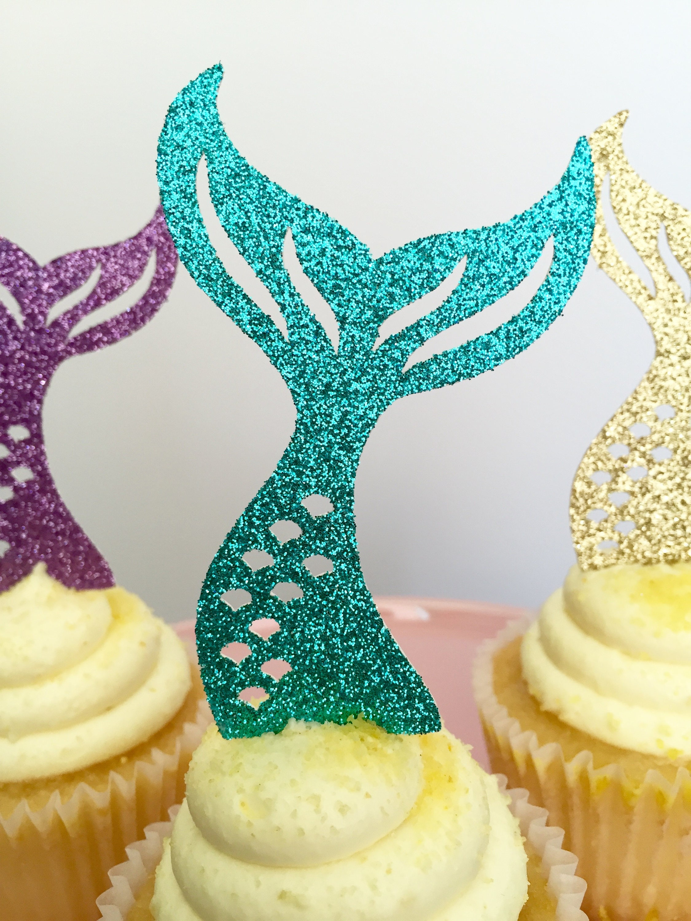 Mermaid Cupcakes Mermaid Tail Cupcakes Mermaid Cupcake Toppers