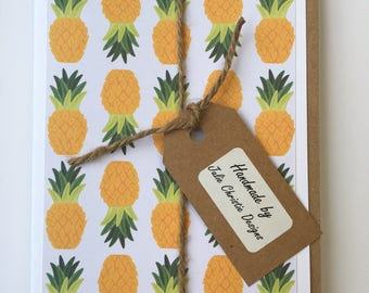 8 Handmade Pineapple/Yellow Themed Paper Greeting Cards, Rectangle Format, Medium and Mini Gift Card Pack, Blank Inside