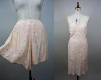 CC41 Slip and Tap Pants Set / 1940s Lingerie Set / 40s Panties / 40s Pink Slip / Petticoat and Knickers Set / Size Medium / S M