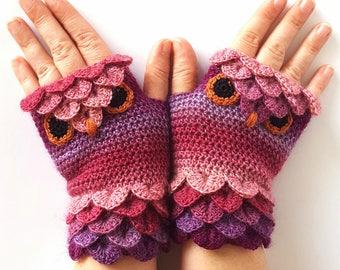 OOAK Owl gloves Fingerless gloves Womens gloves Winter gloves handmade wrist warmers arm warmers texting gloves Driving gloves