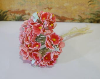Vintage Millinery Flower Bundle Bunch Pinks Coral Velvety Like with Stems and Stamens for Crafts Dolls Hats 50s 60s