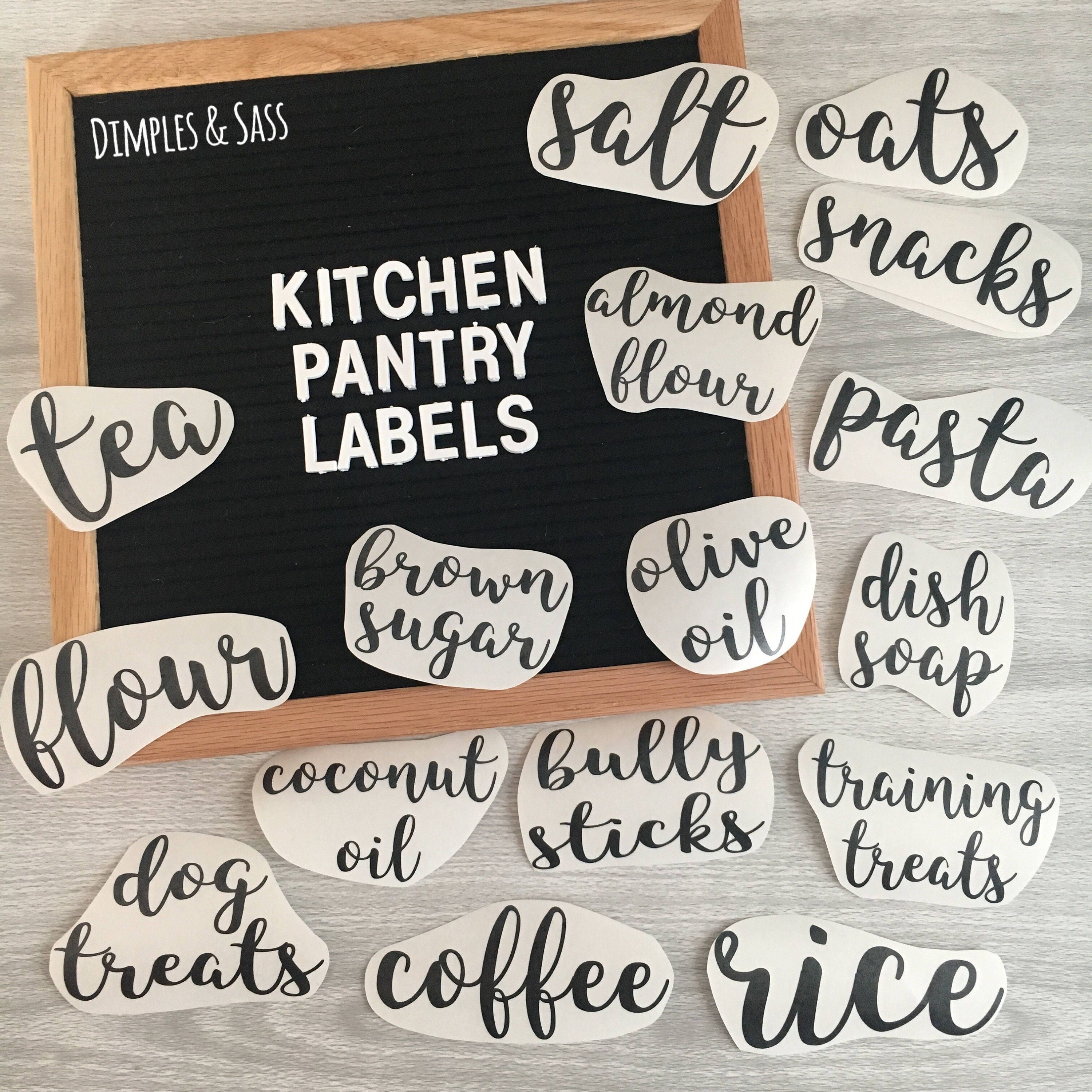 Kitchen Container Organizational Labels Customizable Pantry