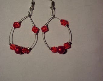 Round red, red pearl beads, red bicone faceted beads earrings