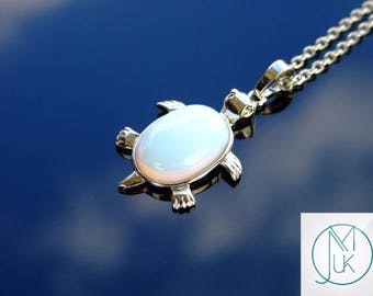 Opalite Turtle Manmade Gemstone Pendant Necklace 50cm Chakra Healing Stone With Pouch FREE UK SHIPPING