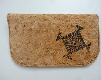 Tobacco pouch made of Cork and Indian motif