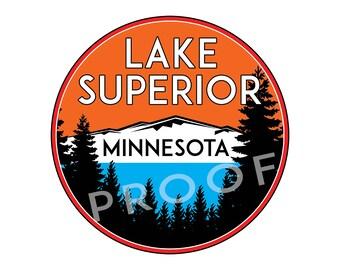 "Lake Superior Minnesota Sticker Decal Boating Jet Ski Boat Camping 3"" x 3"" House Boat"