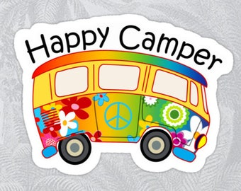 """HAPPY CAMPER BUS Vinyl Sticker Bear Mountain Hiking Camping Camp Decal 4"""" X 2.75"""""""