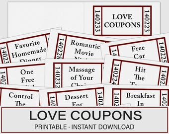 Valentines Day Gift, Love Coupons, Valentines Day Coupons, Last minute Valentines, Printable Love Coupons, Love Coupon Book, Coupons for Her