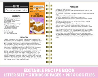 Recipe Book Template PDF + DOC, Editable Recipe Pages, Printable Cook Book,  Recipe