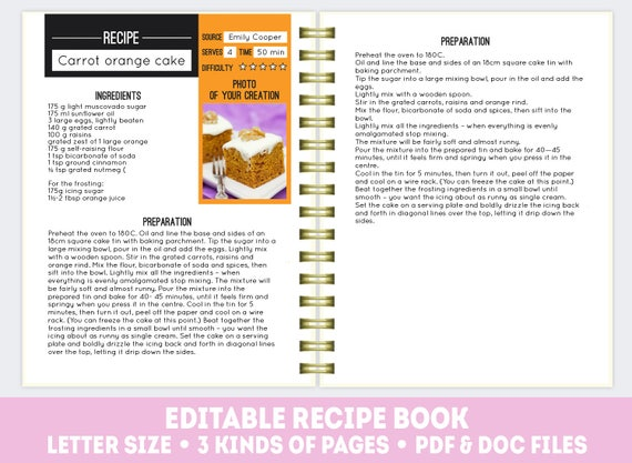 Recipe Book Template PDF + DOC, Editable Recipe Pages, Printable Cook Book,  Recipe Page Template, Editable Recipe Book, Cookbook Template From  Purrplanner ...