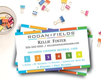 Rodan and Fields Preferred Customer Punch Cards / Rodan + Fields Referral Program / RF / Printed or Digital File / Business Card