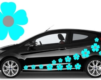 32, Sky blue & silver flower car decals,stickers in three sizes