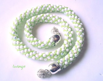 Style couture handmade necklace * DEMETER * woven thread and needle with white Czech glass beads