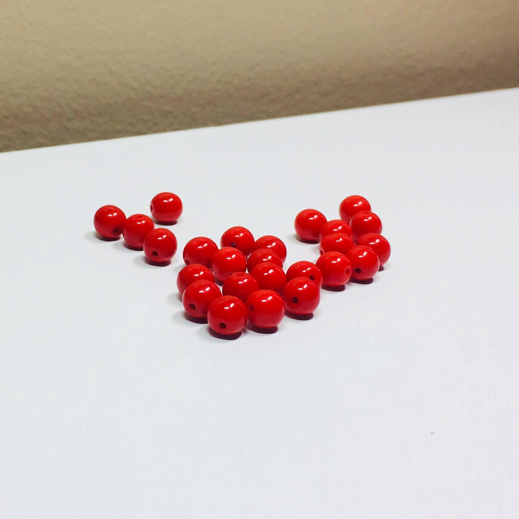 25 Opaque Rubies Czech Smooth Rounds 6mm