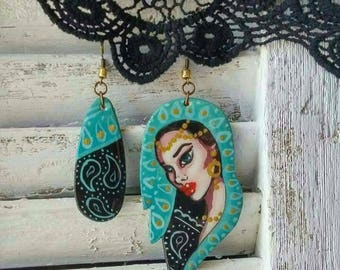 Wooden handmade earrings.