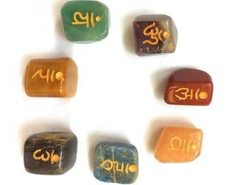 Crystal Chakra Set 7 X Engraved Sanskrit Tumble Stones Gift