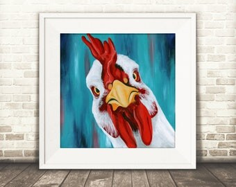 Chicken Art - Chicken Print - Farmhouse Kitchen Decor - Vegan Art - White Chicken - Farm Animal Art - Animal Lover Gift -  Vegan Art Print