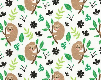 Cute Sloths Fabric / Sloth Fabric by the yard / Timeless Treasures c5435 Sloths on White Fabric / Yardage and Fat Quarters