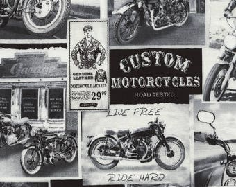 Motorcycle Fabric By The Yard / Vintage Motorcycle News Fabric / Timeless Treasures Era C3646 News / Fat Quarter and Yardage