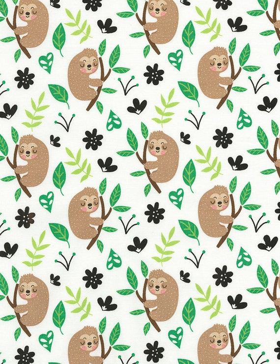 Cute Sloths Fabric Sloth Fabric By The Yard Timeless