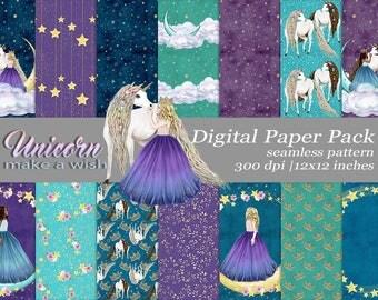 Unicorn Paper, Princess Digital Paper, Girl Paper, Stars Seamless Pattern, Galaxy Paper, Planner Sticker, Glitter Unicorn, Designer Paper